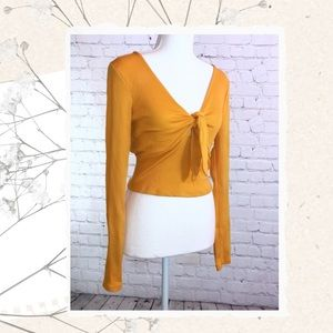 Long Sleeve Yellow Crop Top